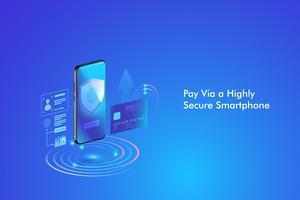 Säker online betalningstransaktion med smartphone. Internetbank via kreditkort på mobilen. Skyddshandling trådlöst betala via smartphone. vektor