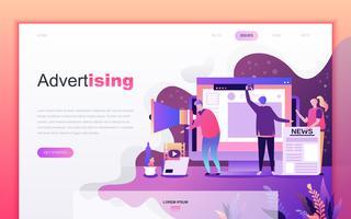 Modernt platt tecknade designkoncept för reklam och marknadsföring för webbutveckling och mobilapputveckling. Målsida mall. Inredda personer karaktär för webbsida eller hemsida. Vektor illustration.
