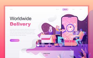 Modernt platt tecknade designkoncept av Worldwide Delivery för webbutveckling och mobilapputveckling. Målsida mall. Inredda personer karaktär för webbsida eller hemsida. Vektor illustration.