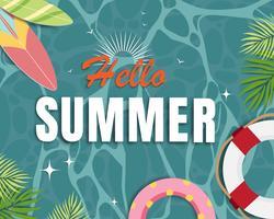 Vacker sommar banner och affisch kort