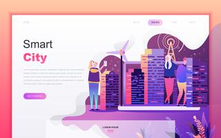 Modernt plattdesign av konceptet Smart City för webbutveckling och mobilapputveckling. Målsida mall. Inredda personer karaktär för webbsida eller hemsida. Vektor illustration.
