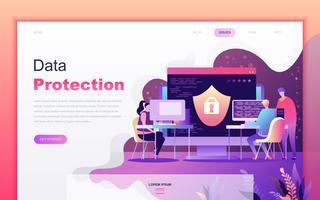 Modernt platt tecknade designkoncept för dataskydd för webbutveckling och mobilapputveckling. Målsida mall. Inredda personer karaktär för webbsida eller hemsida. Vektor illustration.