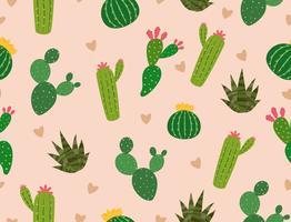 Seamless mönster av många kaktusar med mini hjärta på bakgrunden - Vektor illustration