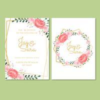 Bröllopsinbjudningsmall med blommor vektor