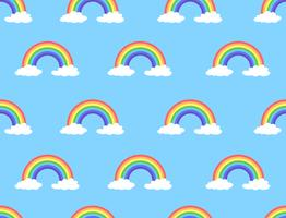 Vektor illustration av regnbåge och moln sömlösa mönster på blå bakgrund