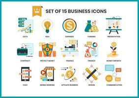 Affärsymboler ställda för företag