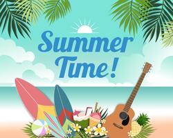 Schöne Sommerfahne und Plakatkarte