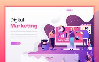 Modernt platt tecknade designkoncept av Digital Marketing för webbutveckling och mobilapputveckling. Målsida mall. Inredda personer karaktär för webbsida eller hemsida. Vektor illustration.