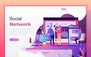 Modernt platt tecknade designkoncept Social Network för webbutveckling och mobilapputveckling. Målsida mall. Inredda personer karaktär för webbsida eller hemsida. Vektor illustration.