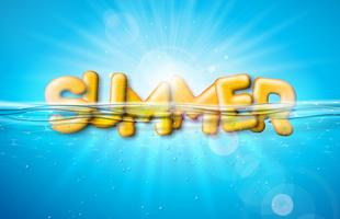 Vektor-Sommer-Illustration mit Buchstaben der Typografie 3d auf blauem Ozean-Unterwasserhintergrund. Realistisches Sommerferien-Feiertags-Design