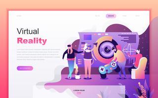 Modernt platt tecknade designkoncept av Virtual Augmented Reality för webbutveckling och mobilapputveckling. Målsida mall. Inredda personer karaktär för webbsida eller hemsida. Vektor illustration.