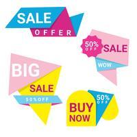 Färgrik Abstrac Origami Försäljning Banners Collection vektor