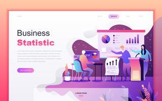 Modernt platt tecknade designkoncept för företagsstatistik för webbutveckling och mobilapputveckling. Målsida mall. Inredda personer karaktär för webbsida eller hemsida. Vektor illustration.