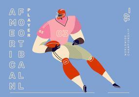 Spieler-Charakter-Vektor-Illustration des amerikanischen Fußballs