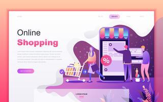 Modernt platt tecknade designkoncept för shopping och e-handel för webbutveckling och mobilapputveckling. Målsida mall. Inredda personer karaktär för webbsida eller hemsida. Vektor illustration.