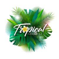 Sommer-tropische Paradies-Illustration mit Typografie-Buchstaben und exotischen Anlagen auf weißem Hintergrund. Vektor-Feiertags-Design mit Palmblättern und Phylodendron