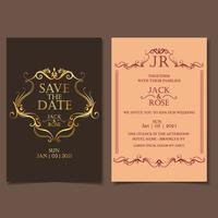 Lyx bröllopsinbjudan mall vintage stil. Vacker guld dekoration med mörk bakgrund vektor