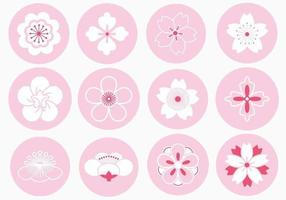Japanischer Blumen-Verzierungs-Vektor-Satz vektor