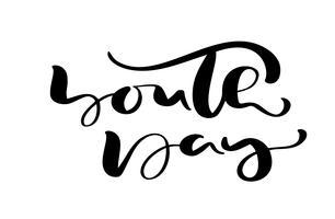 Jugend-Tagesvektor-Kalligraphiebeschriftungsphrase für internationalen Jugend-Tag. Übergeben Sie gezogene Logoikone oder -skript für stilvolle Plakat-Fahne, Grußkarte