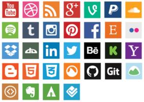 Flache Social Media-Ikonen-Vektor-Pack vektor