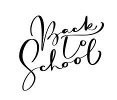 Tillbaka till skolan handskriven kalligrafi bokstäver text. Utbildning inspiration fras för studier. Dragad design vektor illustration