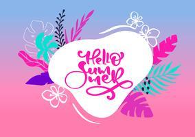 Gulligt skandinaviskt hälsningskort med kalligrafisk bokstäver Hello Hello. Etikettmall med roliga växter och blommor i vektor. Holiday resor modernt koncept med grafiska designelement