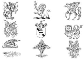Hand gezeichneter Wappenkunde-Vektor-Satz vektor