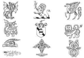 Handdragen heraldikvektorpaket