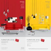 2 Vertikal Banner Möbler Försäljning Design Mall Vektor Illustration