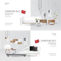 2 Banner Möbler Försäljning Design Mall Vektor Illustration