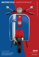 Weinlese-Motorrad lokalisierte Vektor-Illustration