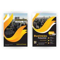 Unternehmensbroschüre in gelber Form