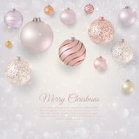Jul bakgrund med ljusa julgransar. Elegant julbakgrund med rosa och vita kvällskulor
