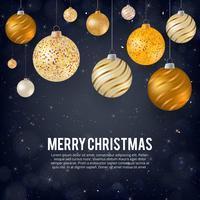 Vektor illustration av god jul guld och svarta färger plats för text, guld julbollar, guld glitter baubles och konfetti