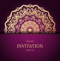 Eleganter Save the Date Kartenentwurf. Vintage floral Einladungskarte Vorlage. Luxusstrudelmandalagrußkarte, Gold, purpurrot