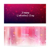Valentinstag verschwommen Banner mit Herzen und Bokeh