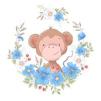 Illustration eines Druckes für das Kinderzimmer kleidet netten Affen in einem Kranz von blauen Blumen.