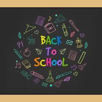 Tillbaka till skolan krita doodle bakgrund på svart tavla
