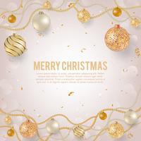 Weihnachtshintergrund mit hellem Weihnachtsflitter. Weihnachtsabendkugeln mit goldenen Perlengirlanden, Rosen-, Gold- und Perlenkugeln.