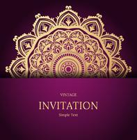 Elegant spara datumkortdesign. Tappning blommig inbjudan kort mall. Lyx virvla runt mandala hälsningskort, guld, lila