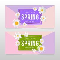 Frühlingsverkaufsfahne mit schöner bunter Blume. Vektor-Illustration template.banners.Wallpaper.flyers, Einladung, Poster, Broschüre, Gutscheinrabatt.