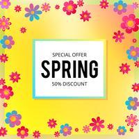 Frühlingsverkaufsfahne mit Papierblumen auf einem gelben und rosa Hintergrund