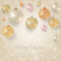 Jul bakgrund med ljusa julgransar. Elegant jul bakgrund med guld och vit kväll bollar