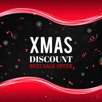 Röd julförsäljning bakgrund med snöflingor, konfetti och abstrakta vågor