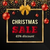 Guldglitterjulförsäljningsbanner med röda julkulor. Julförsäljningstecken. Guldplansram med silkeslen och julgrans.