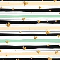 Nahtloses Muster der Goldfunkelnden Herzkonfettis auf gestreiftem Hintergrund vektor