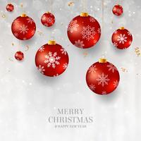 Weihnachtshintergrund mit rotem Weihnachtsflitter. Eleganter heller Weihnachtshintergrund mit roten Abendbällen