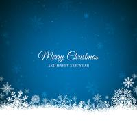 Blauer Weihnachtshintergrund mit weißer Schneeflockengrenze