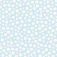 Vita blommor på blå bakgrund