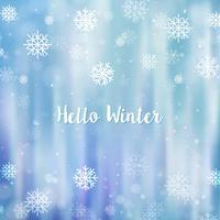 Hallo Winter Hintergrund jedoch unscharf. Weihnachtsschneeflocken verwischten Hintergrund